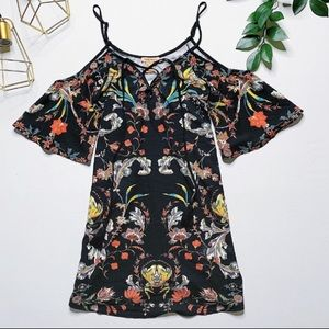 Flying Tomato cold shoulder floral dress tassels